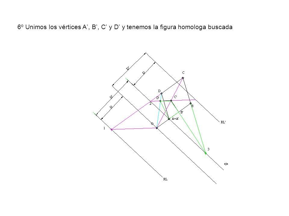 6º Unimos los vértices A', B', C' y D' y tenemos la figura homologa buscada