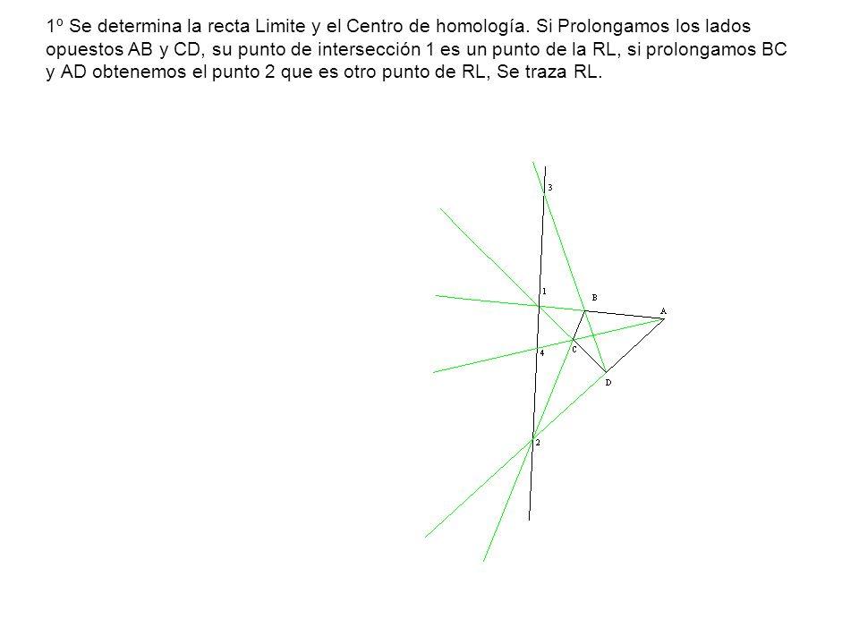 1º Se determina la recta Limite y el Centro de homología