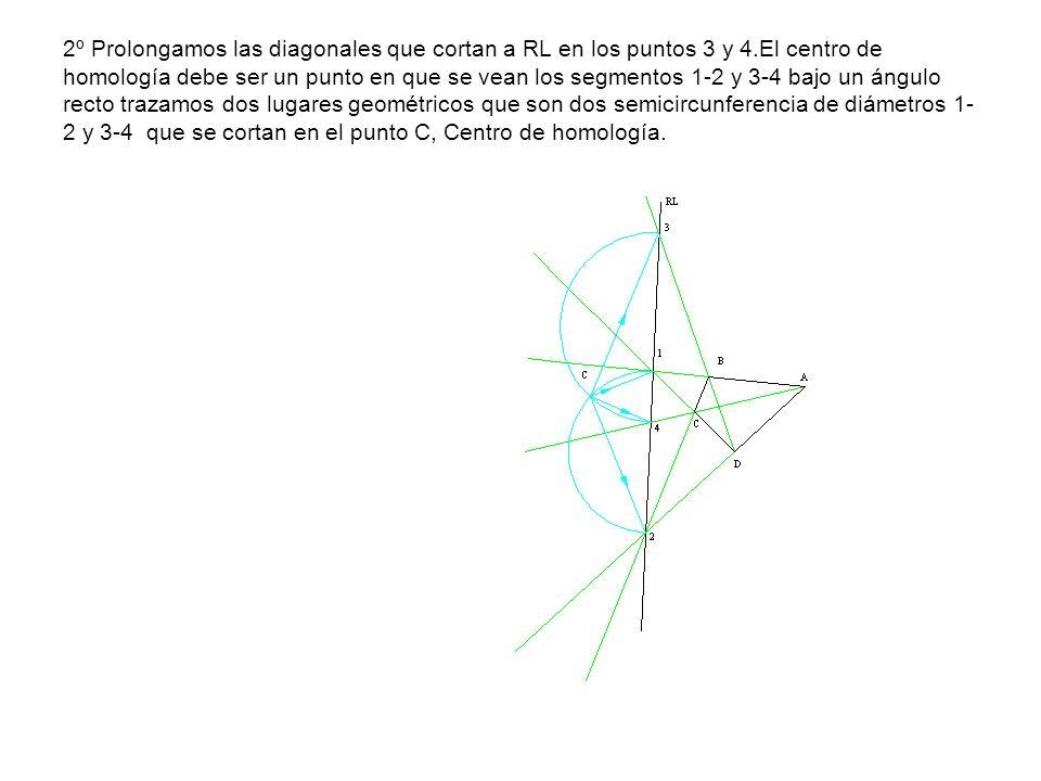 2º Prolongamos las diagonales que cortan a RL en los puntos 3 y 4