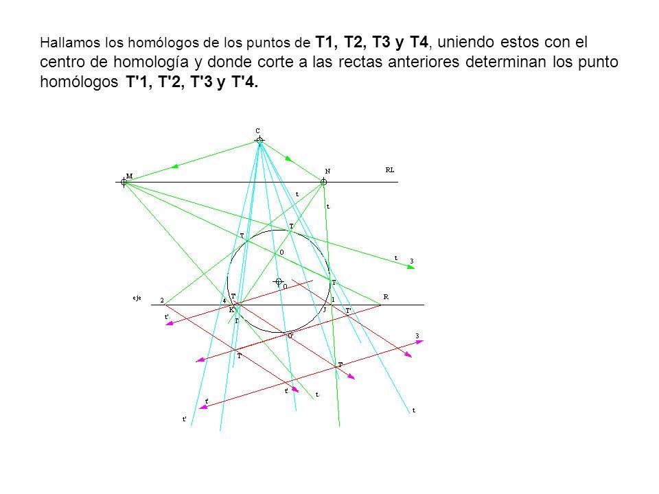 Hallamos los homólogos de los puntos de T1, T2, T3 y T4, uniendo estos con el centro de homología y donde corte a las rectas anteriores determinan los punto homólogos T 1, T 2, T 3 y T 4.