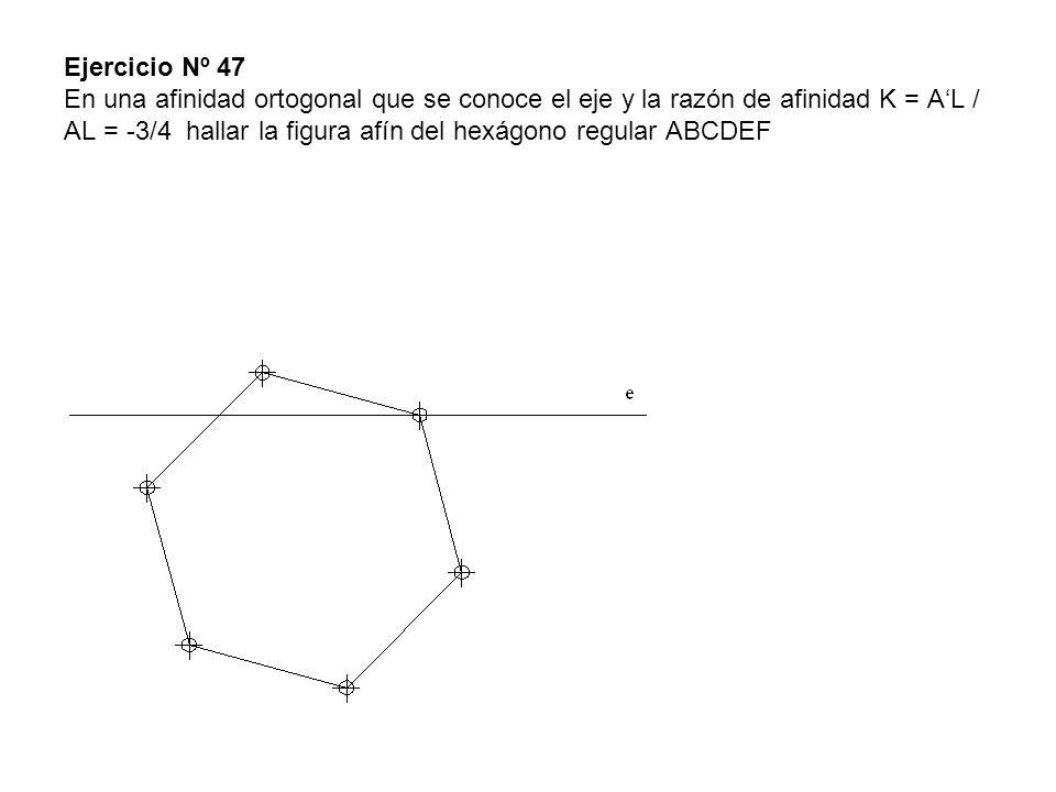 Ejercicio Nº 47 En una afinidad ortogonal que se conoce el eje y la razón de afinidad K = A'L / AL = -3/4 hallar la figura afín del hexágono regular ABCDEF