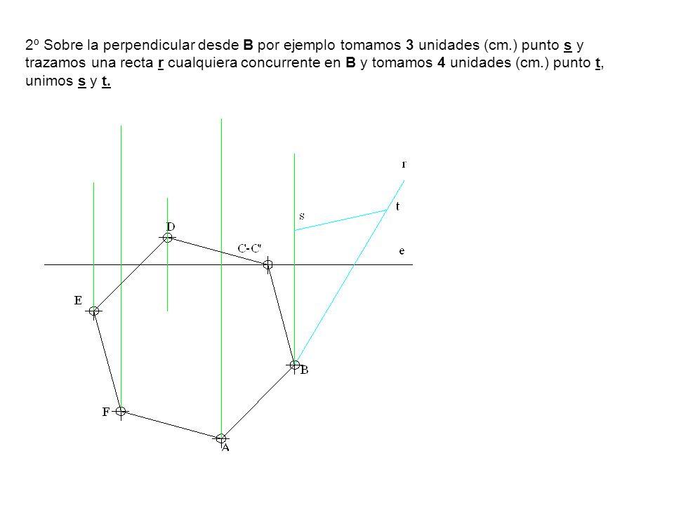 2º Sobre la perpendicular desde B por ejemplo tomamos 3 unidades (cm