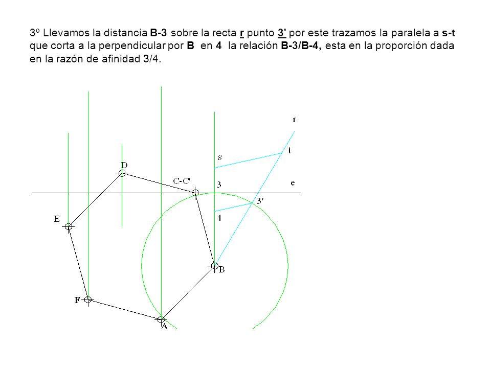 3º Llevamos la distancia B-3 sobre la recta r punto 3 por este trazamos la paralela a s-t que corta a la perpendicular por B en 4 la relación B-3/B-4, esta en la proporción dada en la razón de afinidad 3/4.