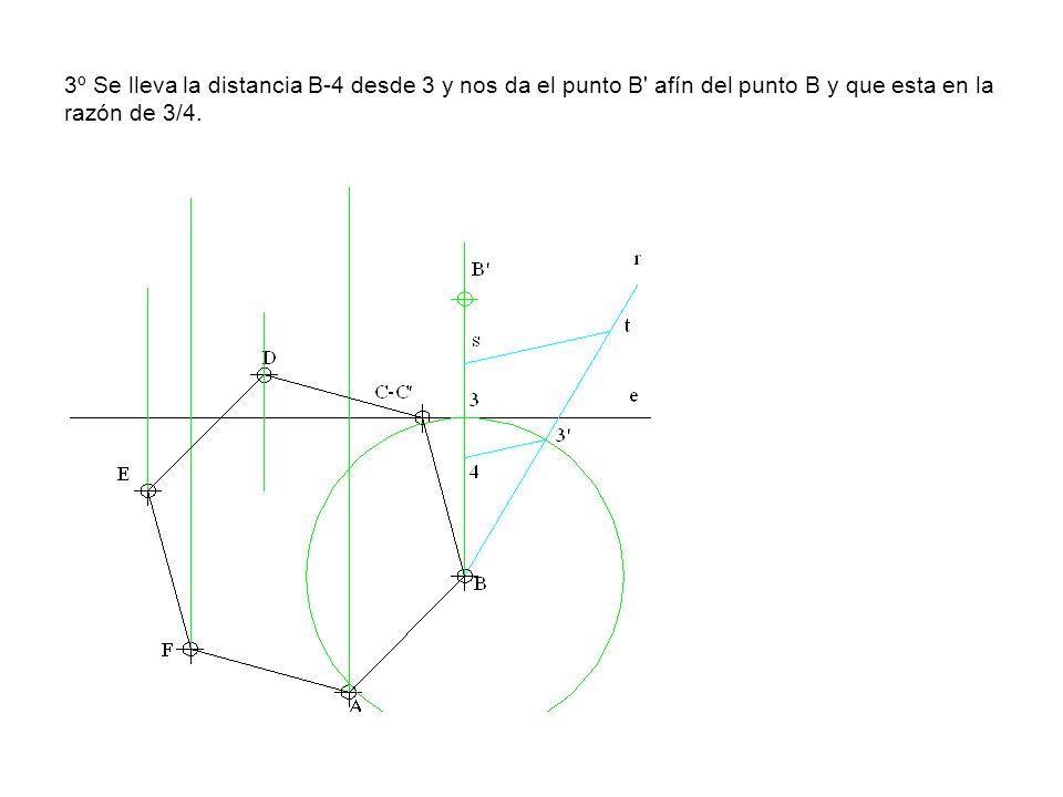 3º Se lleva la distancia B-4 desde 3 y nos da el punto B afín del punto B y que esta en la razón de 3/4.