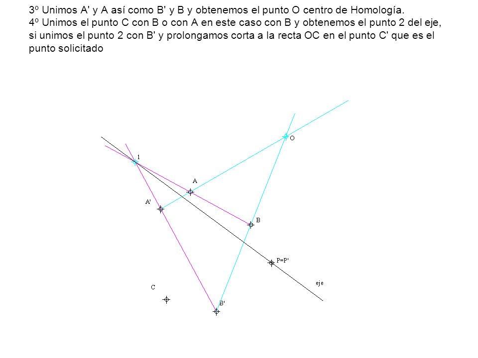 3º Unimos A y A así como B y B y obtenemos el punto O centro de Homología.
