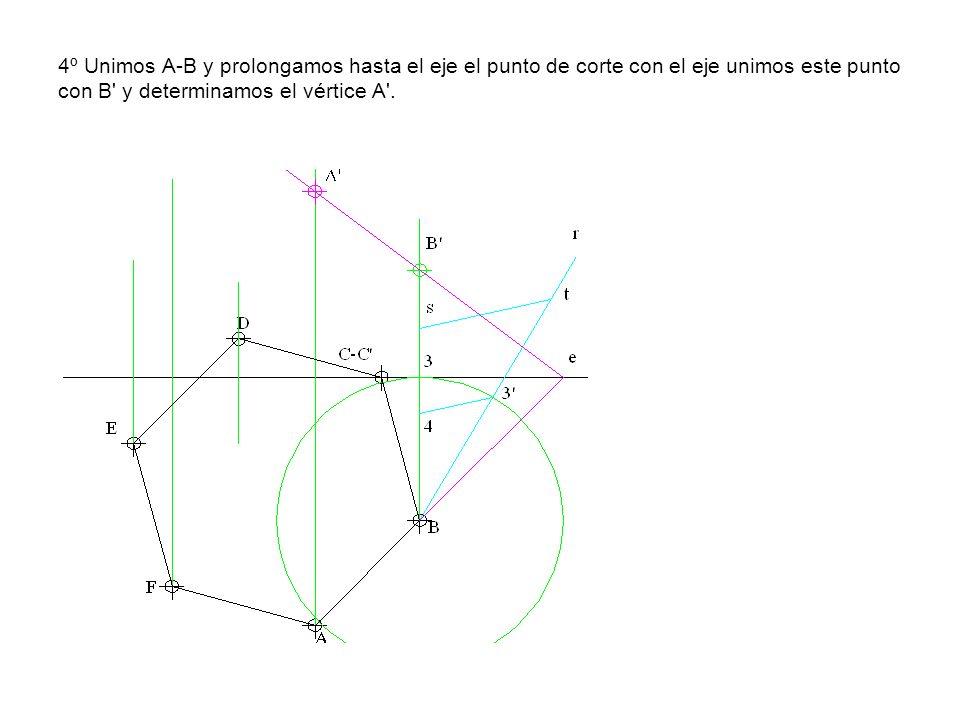 4º Unimos A-B y prolongamos hasta el eje el punto de corte con el eje unimos este punto con B y determinamos el vértice A .
