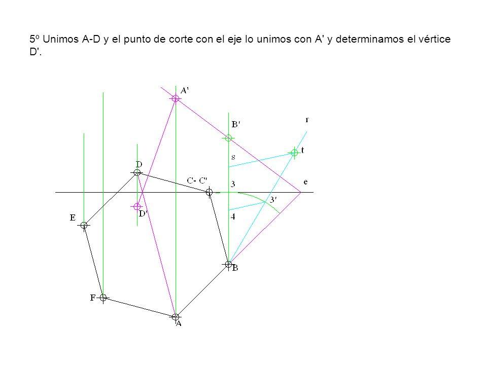 5º Unimos A-D y el punto de corte con el eje lo unimos con A y determinamos el vértice D .