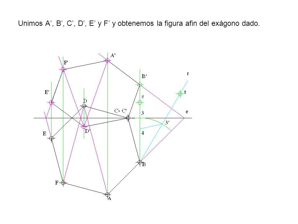 Unimos A', B', C', D', E' y F' y obtenemos la figura afin del exágono dado.