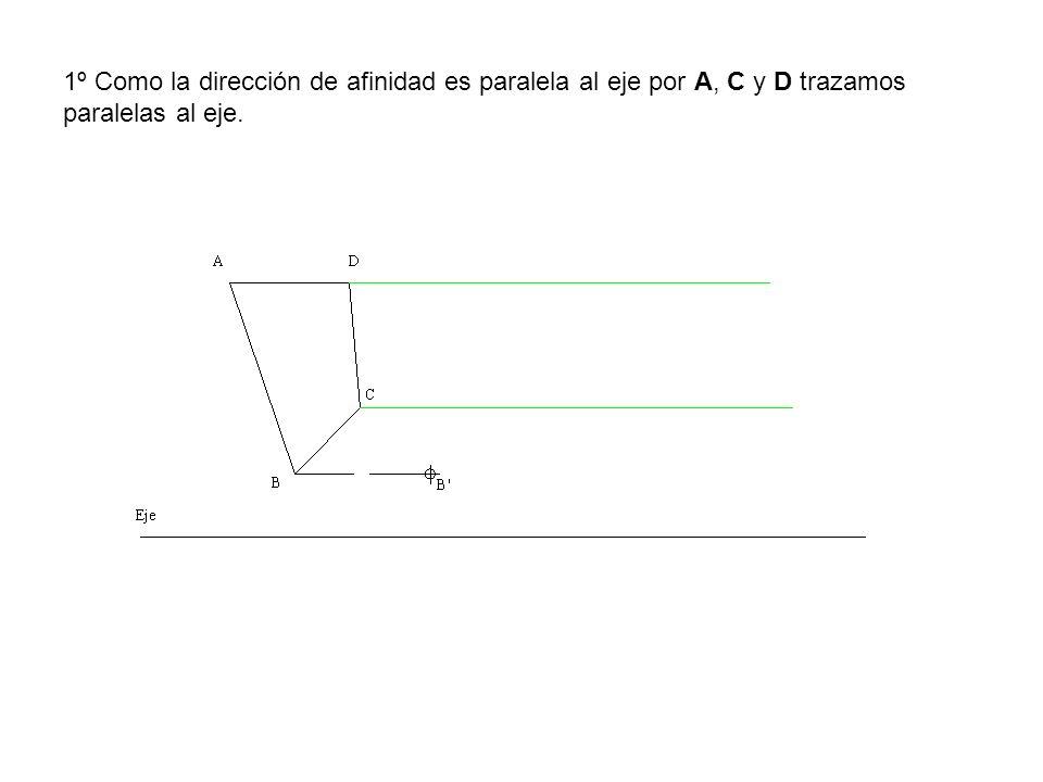 1º Como la dirección de afinidad es paralela al eje por A, C y D trazamos paralelas al eje.