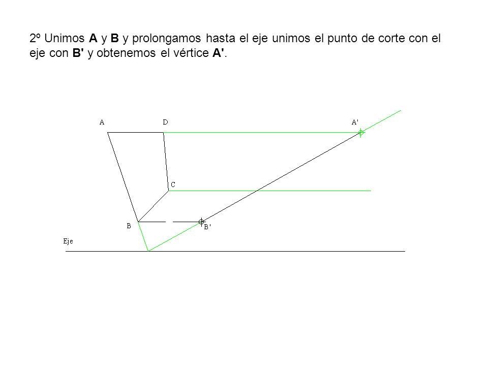 2º Unimos A y B y prolongamos hasta el eje unimos el punto de corte con el eje con B y obtenemos el vértice A .