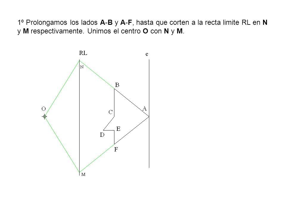 1º Prolongamos los lados A-B y A-F, hasta que corten a la recta limite RL en N y M respectivamente.