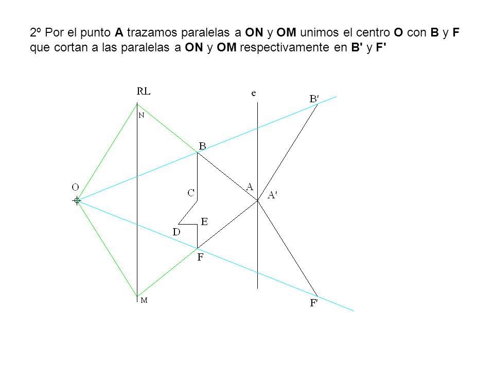 2º Por el punto A trazamos paralelas a ON y OM unimos el centro O con B y F que cortan a las paralelas a ON y OM respectivamente en B y F