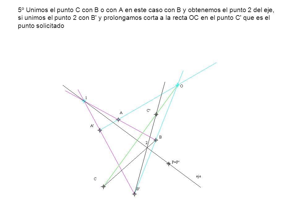 5º Unimos el punto C con B o con A en este caso con B y obtenemos el punto 2 del eje, si unimos el punto 2 con B y prolongamos corta a la recta OC en el punto C que es el punto solicitado
