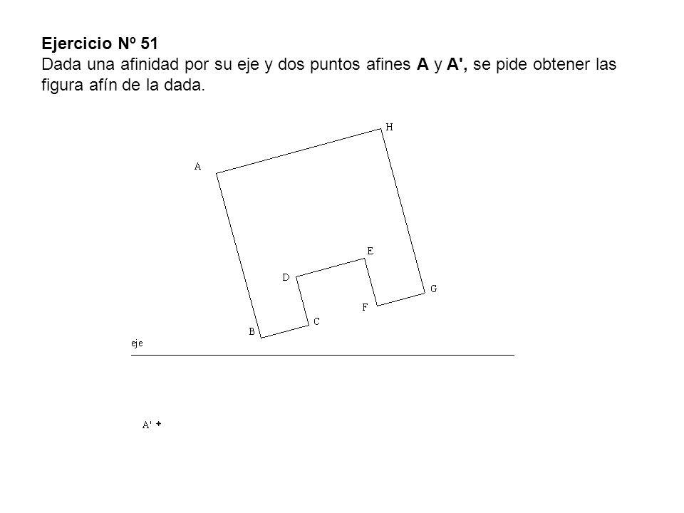 Ejercicio Nº 51 Dada una afinidad por su eje y dos puntos afines A y A , se pide obtener las figura afín de la dada.