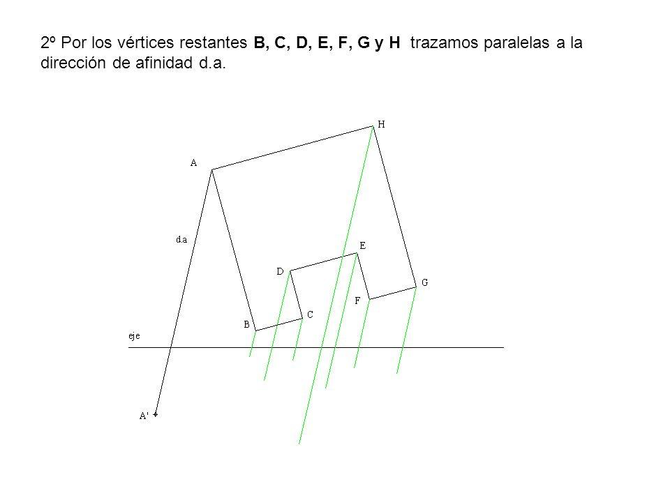 2º Por los vértices restantes B, C, D, E, F, G y H trazamos paralelas a la dirección de afinidad d.a.