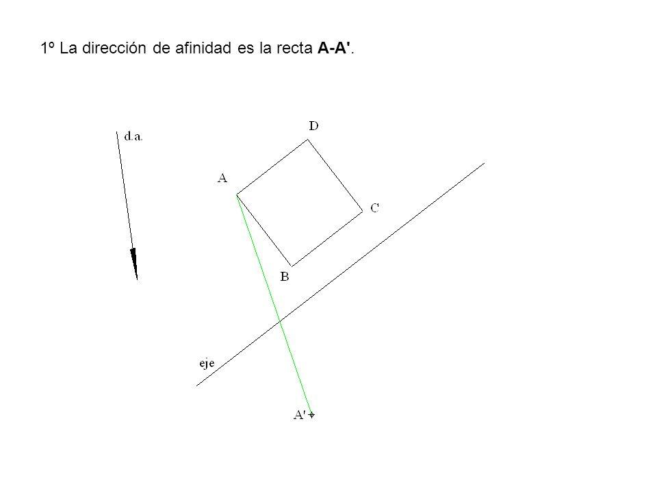 1º La dirección de afinidad es la recta A-A .