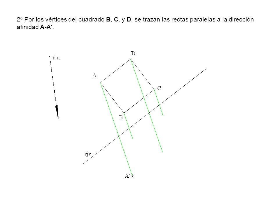 2º Por los vértices del cuadrado B, C, y D, se trazan las rectas paralelas a la dirección afinidad A-A .
