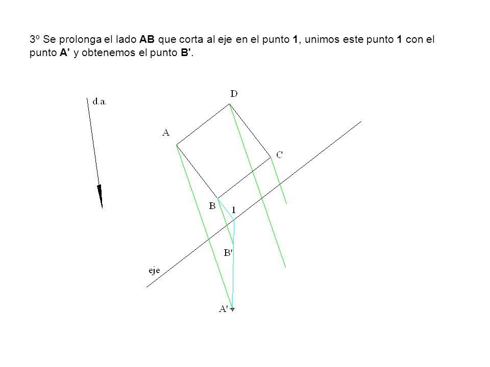 3º Se prolonga el lado AB que corta al eje en el punto 1, unimos este punto 1 con el punto A y obtenemos el punto B .