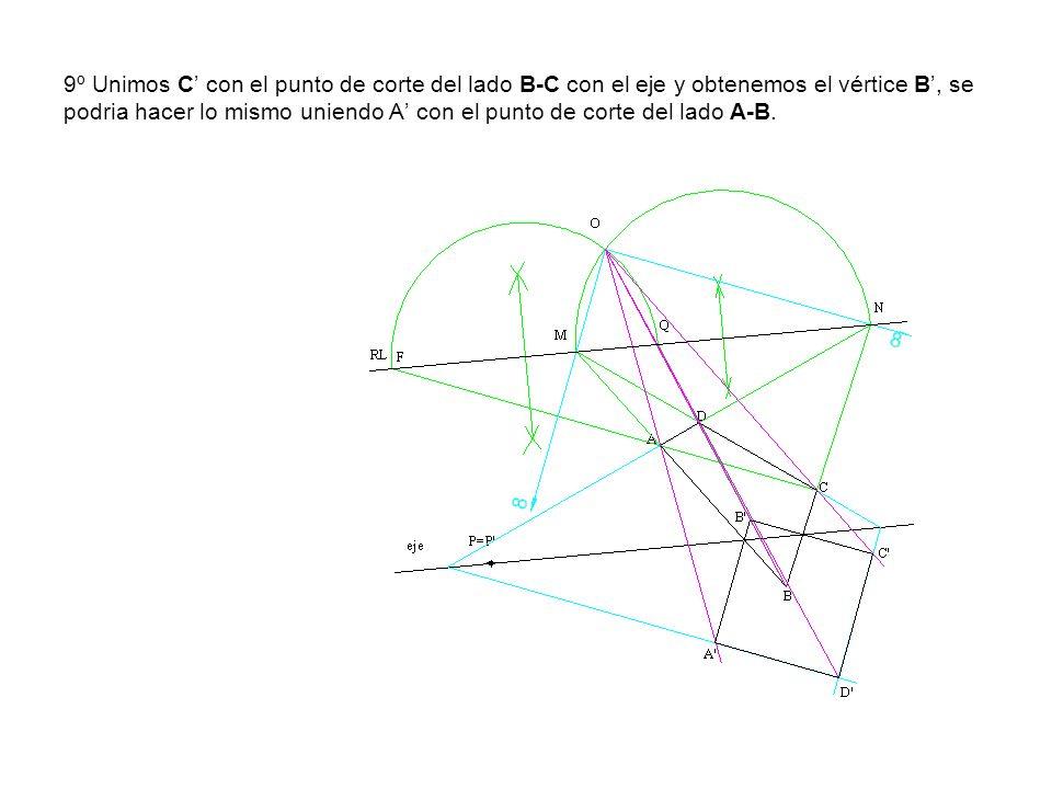 9º Unimos C' con el punto de corte del lado B-C con el eje y obtenemos el vértice B', se podria hacer lo mismo uniendo A' con el punto de corte del lado A-B.