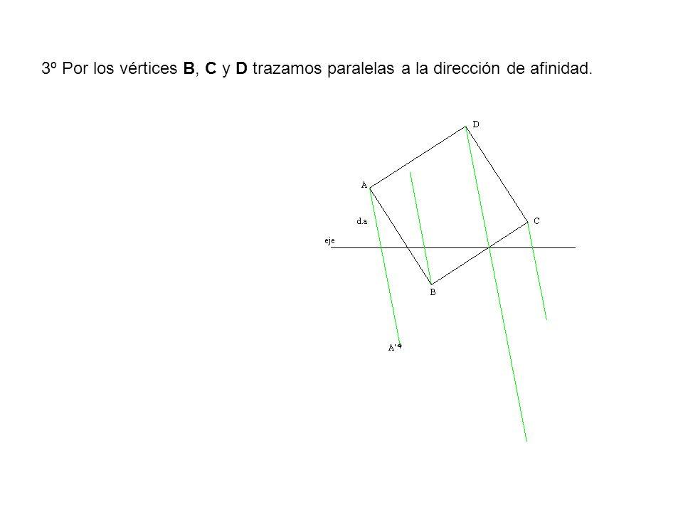 3º Por los vértices B, C y D trazamos paralelas a la dirección de afinidad.