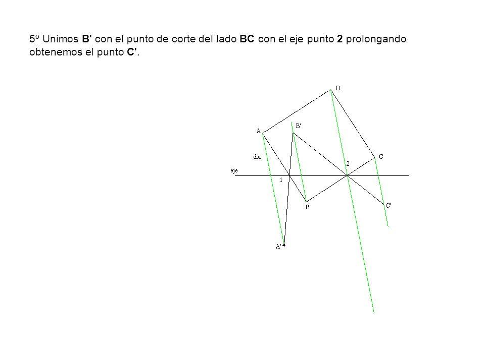 5º Unimos B con el punto de corte del lado BC con el eje punto 2 prolongando obtenemos el punto C .