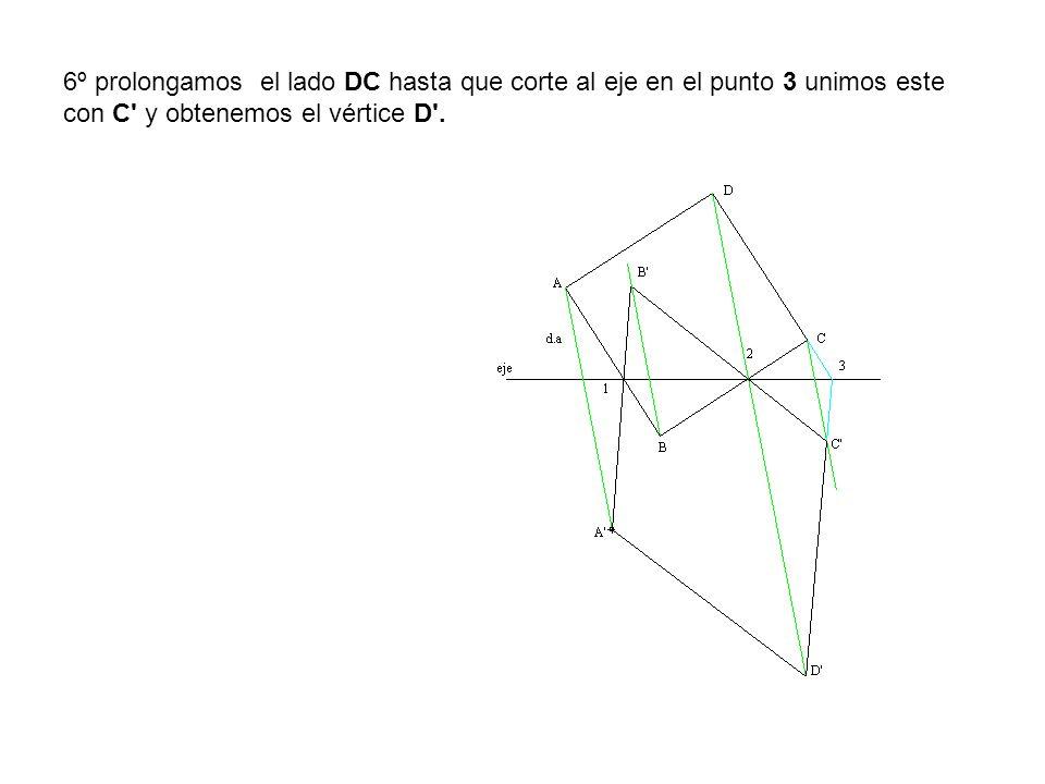 6º prolongamos el lado DC hasta que corte al eje en el punto 3 unimos este con C y obtenemos el vértice D .