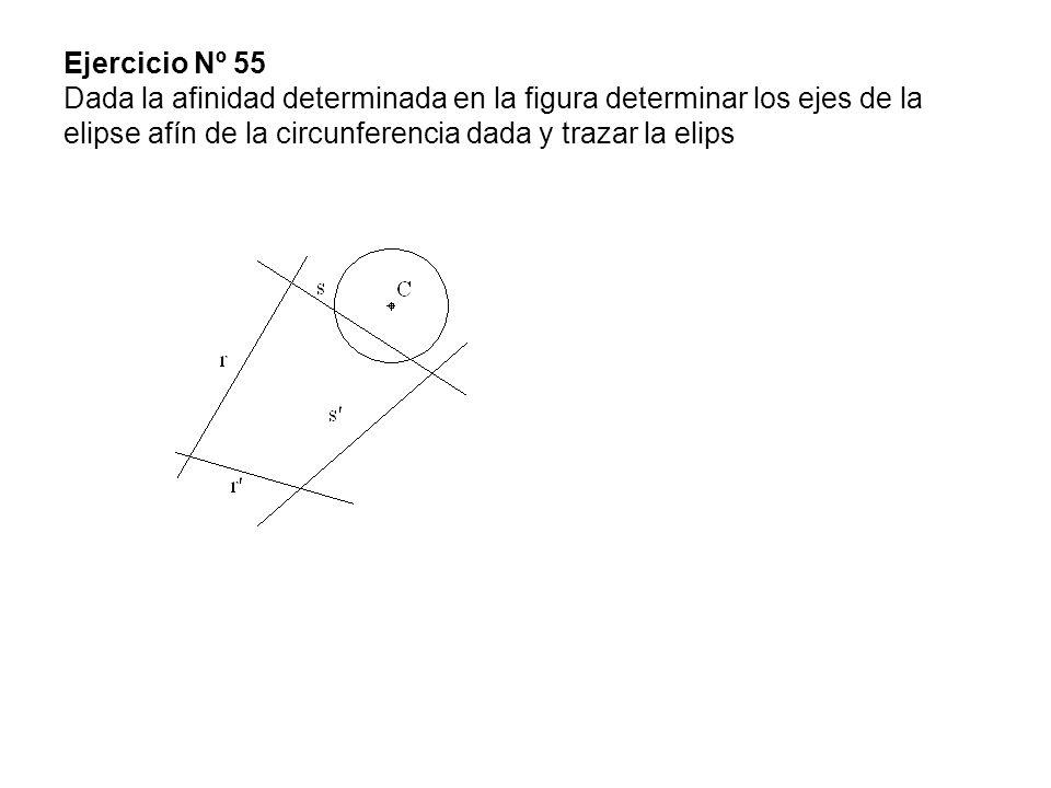 Ejercicio Nº 55 Dada la afinidad determinada en la figura determinar los ejes de la elipse afín de la circunferencia dada y trazar la elips