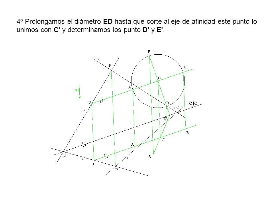 4º Prolongamos el diámetro ED hasta que corte al eje de afinidad este punto lo unimos con C y determinamos los punto D y E .