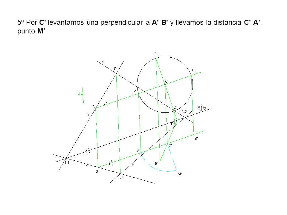 5º Por C levantamos una perpendicular a A -B y llevamos la distancia C -A , punto M'