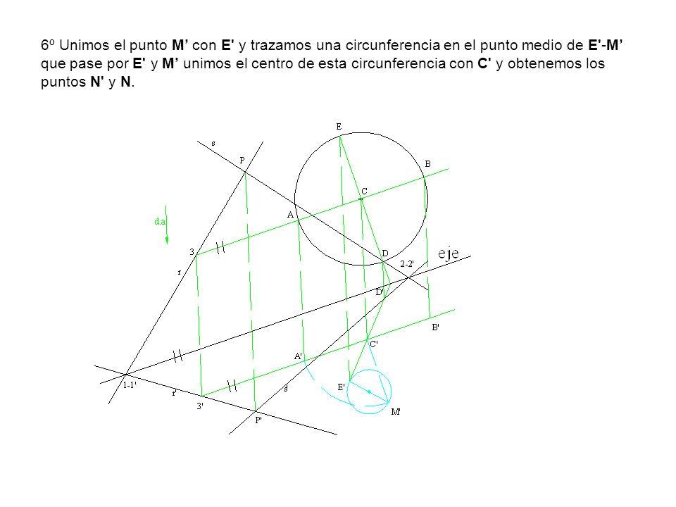 6º Unimos el punto M' con E y trazamos una circunferencia en el punto medio de E -M' que pase por E y M' unimos el centro de esta circunferencia con C y obtenemos los puntos N y N.