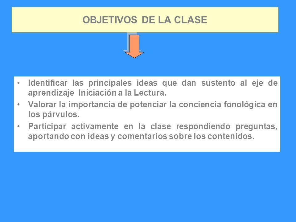 OBJETIVOS DE LA CLASE Identificar las principales ideas que dan sustento al eje de aprendizaje Iniciación a la Lectura.