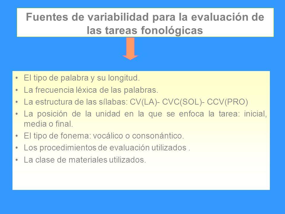 Fuentes de variabilidad para la evaluación de las tareas fonológicas