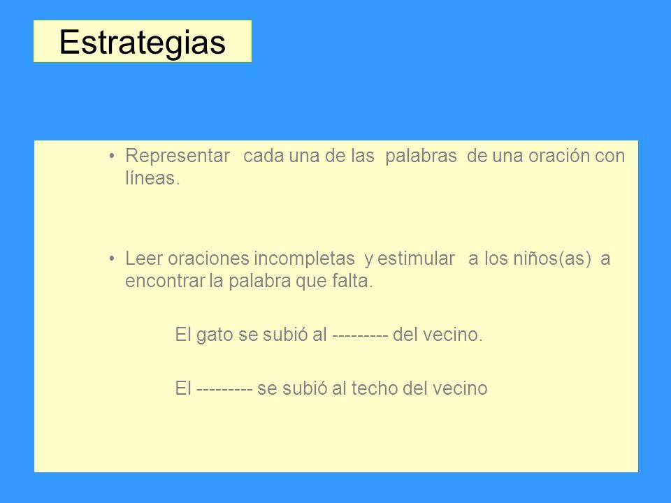 Estrategias Representar cada una de las palabras de una oración con líneas.