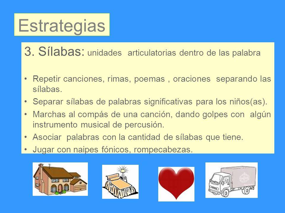 Estrategias 3. Sílabas: unidades articulatorias dentro de las palabra