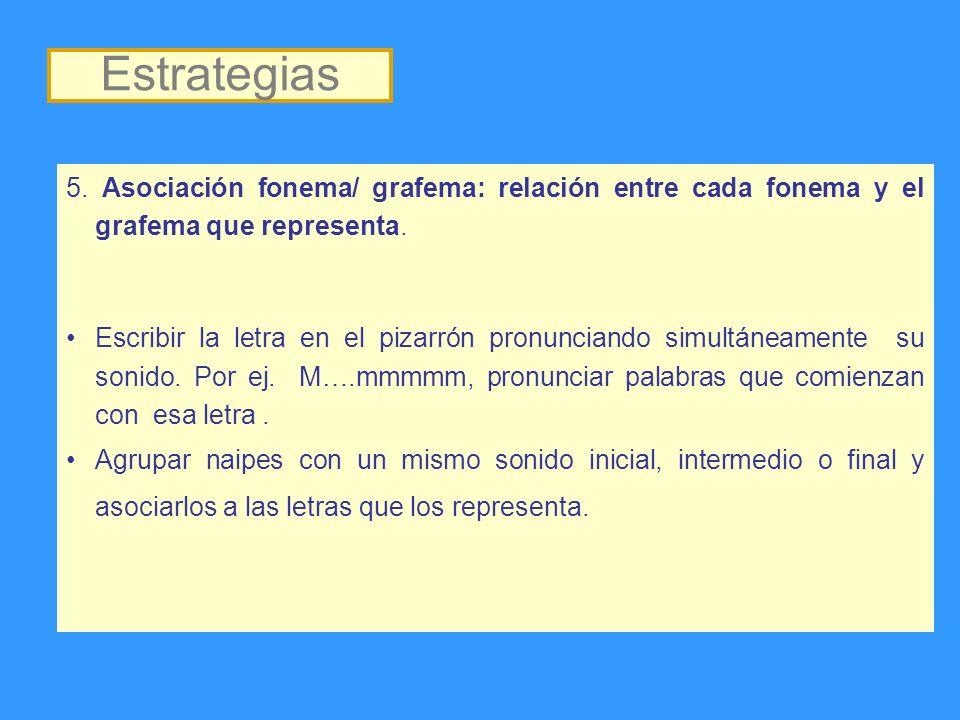 Estrategias 5. Asociación fonema/ grafema: relación entre cada fonema y el grafema que representa.