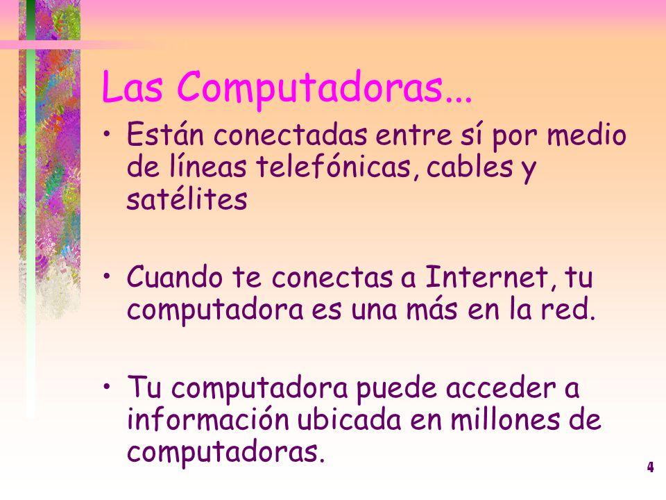 Las Computadoras... Están conectadas entre sí por medio de líneas telefónicas, cables y satélites.