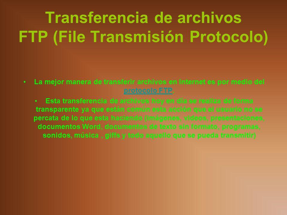 Transferencia de archivos FTP (File Transmisión Protocolo)
