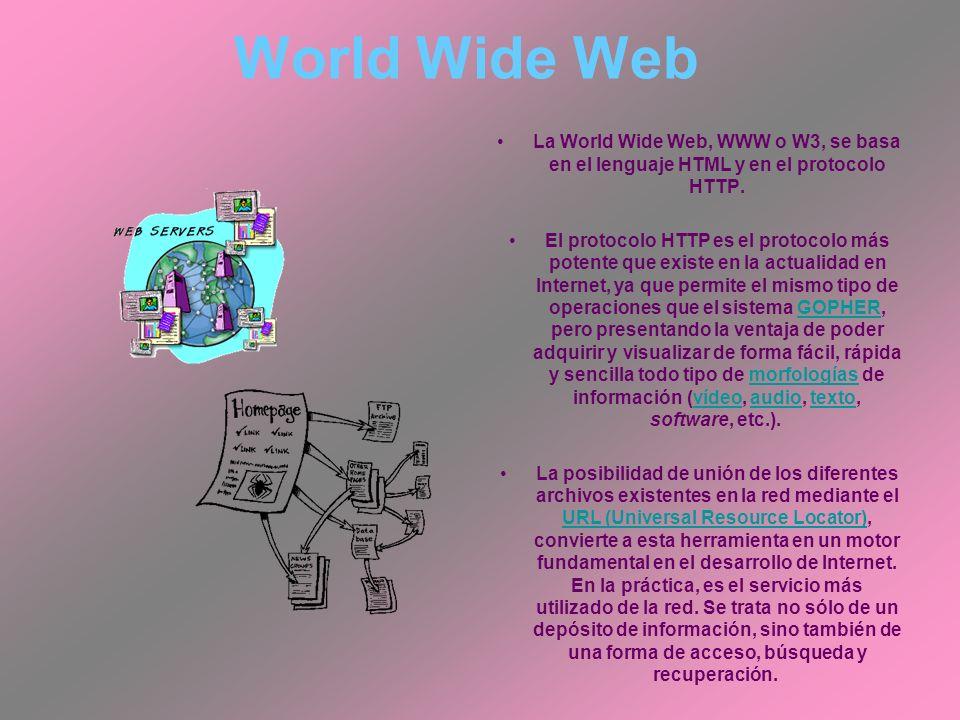 World Wide Web La World Wide Web, WWW o W3, se basa en el lenguaje HTML y en el protocolo HTTP.