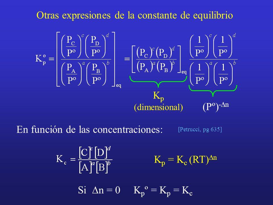 Otras expresiones de la constante de equilibrio