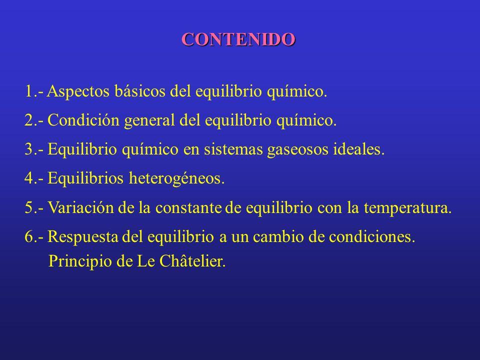 CONTENIDO 1.- Aspectos básicos del equilibrio químico.