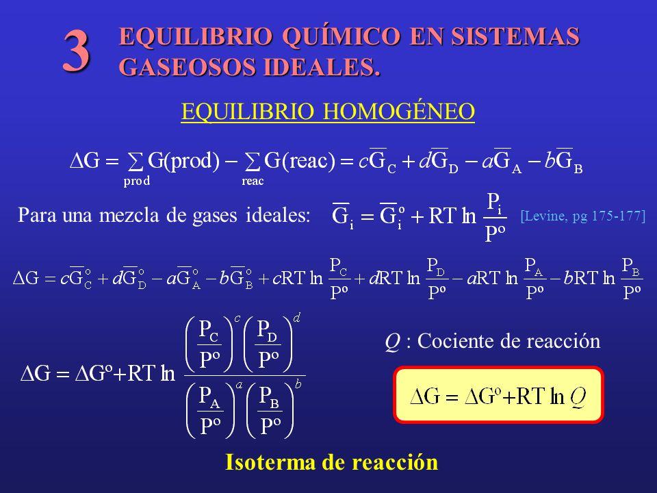 3 EQUILIBRIO QUÍMICO EN SISTEMAS GASEOSOS IDEALES.