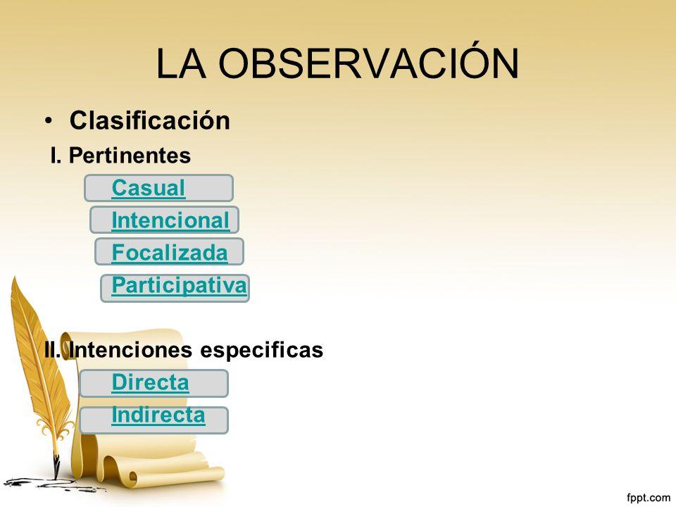 LA OBSERVACIÓN Clasificación I. Pertinentes Casual Intencional