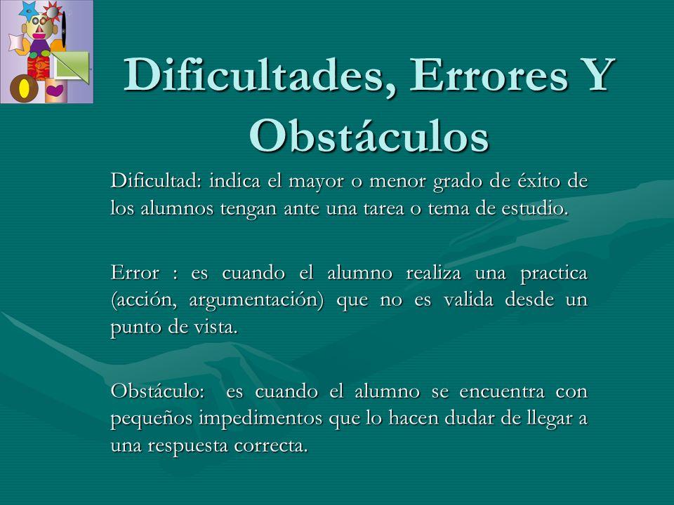 Dificultades, Errores Y Obstáculos