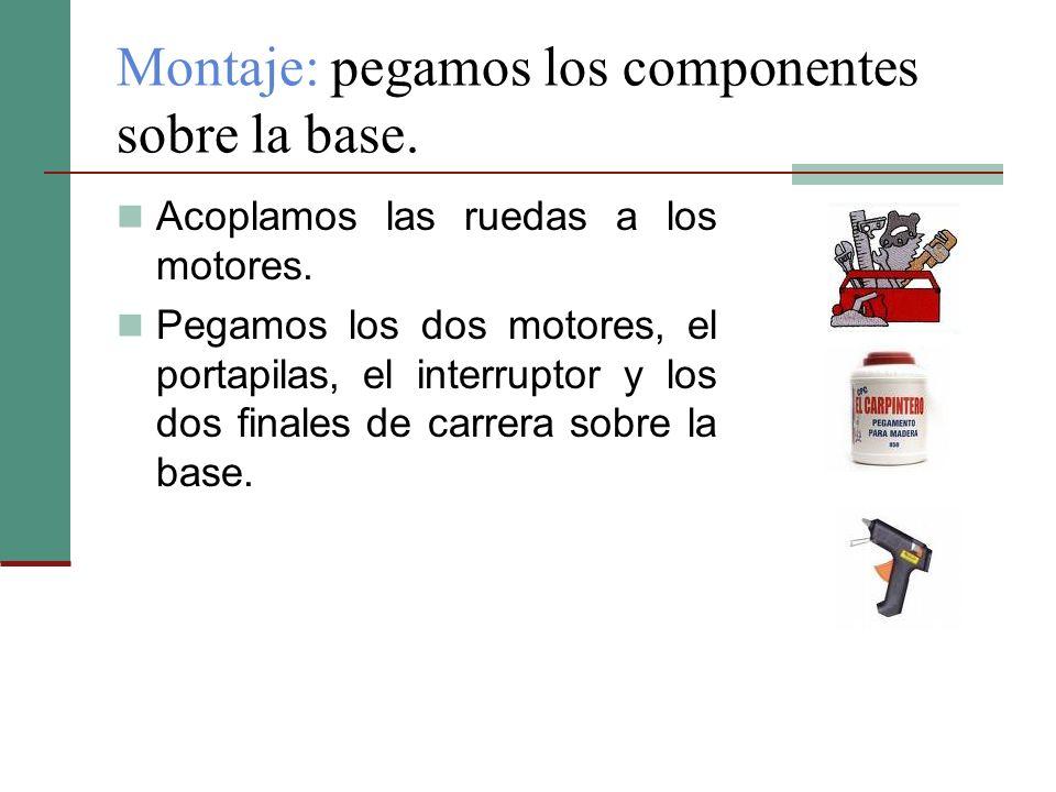 Montaje: pegamos los componentes sobre la base.