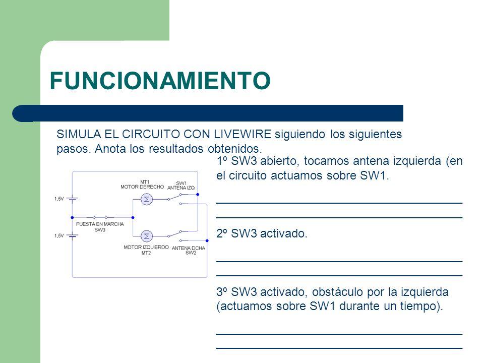 FUNCIONAMIENTO SIMULA EL CIRCUITO CON LIVEWIRE siguiendo los siguientes pasos. Anota los resultados obtenidos.