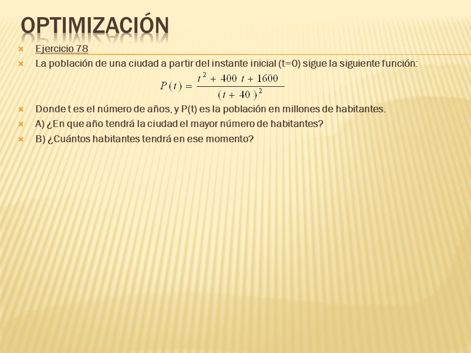 Optimización Ejercicio 78