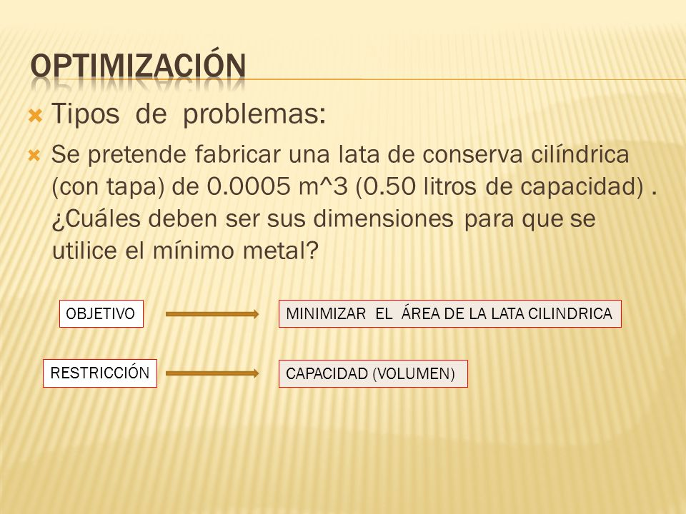 Optimización Tipos de problemas: