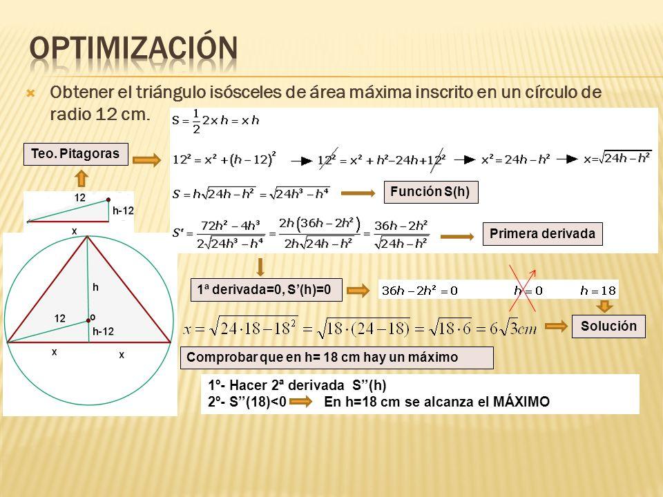 Optimización Obtener el triángulo isósceles de área máxima inscrito en un círculo de radio 12 cm. Teo. Pitagoras.
