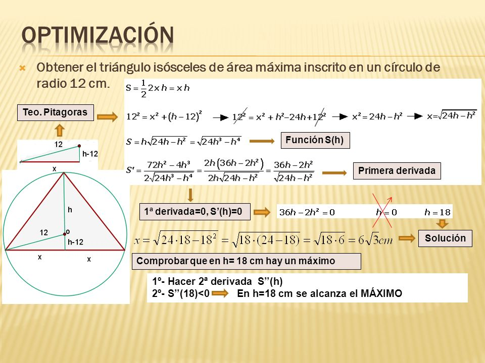 OptimizaciónObtener el triángulo isósceles de área máxima inscrito en un círculo de radio 12 cm. Teo. Pitagoras.