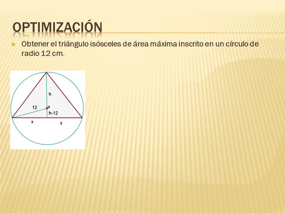 Optimización Obtener el triángulo isósceles de área máxima inscrito en un círculo de radio 12 cm.